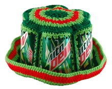 Crocheted Mountain Dew Can Bucket Hat