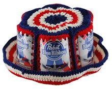 Crocheted Pabst Blue Ribbon Beer Can Bucket Hat